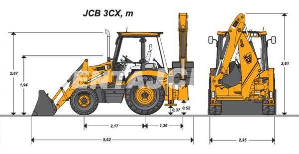 Экскаватор-погрузчик JCB-3CX габариты