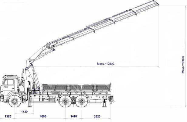 Кран-манипулятор КМ-34000 КАМАЗ-6520 схема